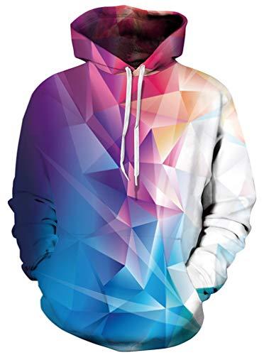 Ocean Plus Herren Kapuzenpullover Lebensecht 3D Grafik Hoodie mit Kängurutasche Pullover mit Kapuze Sweat Hood (S/M (Brustumfang: 112-132CM), Geometrisches Bunt)