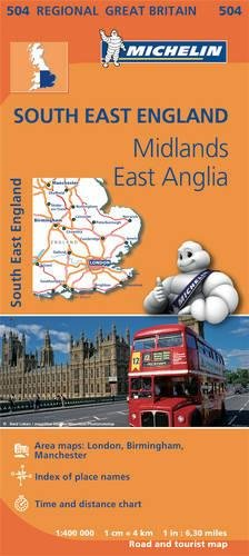 Mapa Regional South East England, Midlands, East Anglia (Carte regionali) por MICHELIN