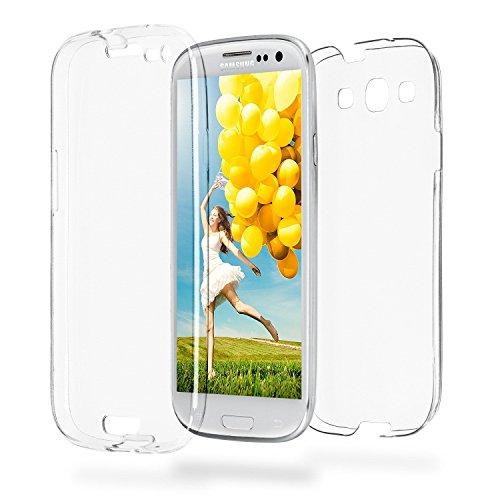 Ysimee Compatible avec Samsung Galaxy S3 Intégral Coque en Silicone Transparente Double Gel Étui 360 Degrés Avant Et Arrière TPU Case Anti-Rayures Ultra Mince Souple Doux Housse de Protection,Clair
