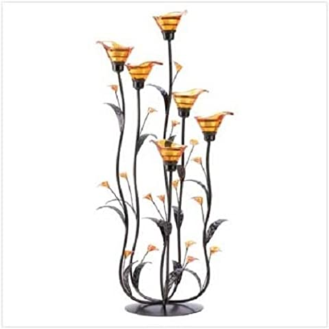 GHP 10x10x24.25 Glass Iron Acrylic Tall Amber Calla Lily Bunch Tealight Candle Holder by Globe House Products