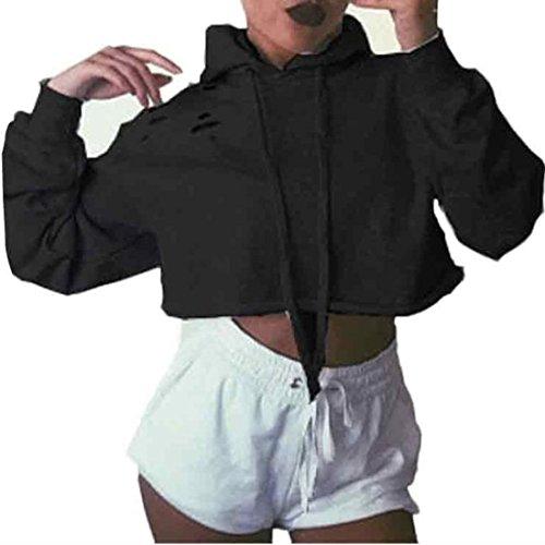 Rcool Mujeres con Capucha del Puente del Suéter Camisa Corta de los D
