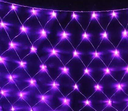 E-db LED Lichternetz 1.5M x 1.5M 96 LED Lichterkette Nachtlicht/Weihnachtsdekorationlichter/Weihnachten Hochzeit Vorhang Lichterkette Seile/Garten/Hotel/Festival/Dekoration Stimmungs (Lila) - Energy-star-wand-beleuchtung