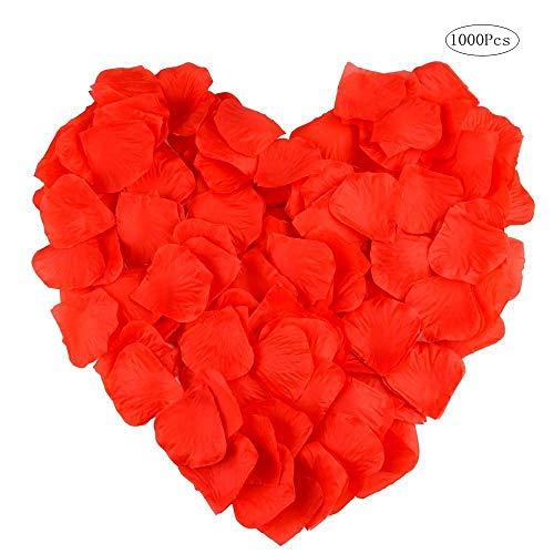 Seiden-Rosenblätter Hochzeit Konfetti Künstliche Rosenblätter für Cosplay Dekora Halloween Weihnachten Hochzeit Gastgeschenk, rot, 1000PCS ()