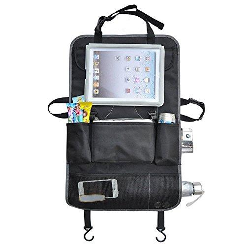 TradePro Organizador para parte trasera de asiento de coche, para pantalla táctil de iPad y tablet, para guardar los juguetes de los niños, con cubierta protectora de esterilla para el asiento, para coche, utilitario deportivo, maletero, cochecito de bebé, etc., con varios bolsillos de almacenamiento, se puede colgar, artículo imprescindible para ir de viaje y guardar los accesorios de bebés y niños, pañales, tablet, iPad, etc., ideal para viajes largos en silencio