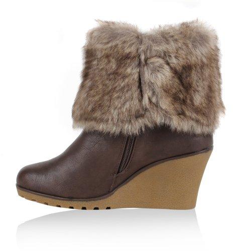 Damen Stiefeletten Keilabsatz Schuhe Kunstpelz Wedges Gr. 36-41 Dunkelbraun