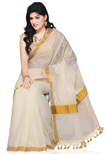 Utsav Fashion Women's Off White Cotton Kerala Kasavu Saree with Blouse
