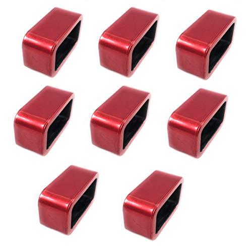 Marzoon 8 Stück Serviettenringe eckig Rot glänzend lackiert aus Kunststoff - Farbe Kunststoff-wein-gläser Rot
