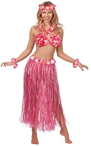 Hot Pink Hawaiian Honey Summer Beach Party Girl Fancy Dress Costume Outfit New - 2