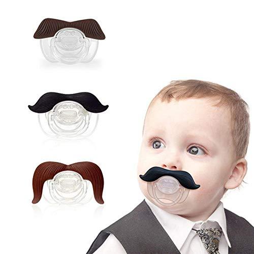 Schnurrbart-Schnuller, leegoal 3Pcs Netter Herr-Schnurrbart-Schnuller für Baby, neugeborenes Säuglingsschnuller-Geschenk, BPA geben frei, das freie Latex, das mit Silikon gebildet Wird