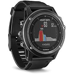 Garmin Fēnix 3 Zafiro HR - Reloj multideporte con GPS y pulsera de silicona, color negro