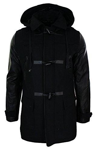 Hommes Manteau duffle coat noir cintré en laine longeur 3/4 capuche manches en cuir