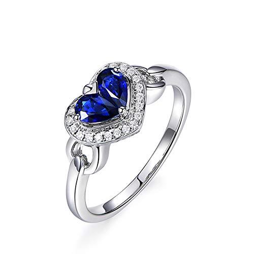 18 ct Weißgold Solitärring Herzform Natürlichen Blauen Saphir Diamant Frauen Ring Hochzeit Engagement Braut Frau,L1/2