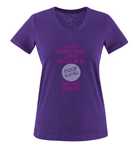 Comedy Shirts - Aus den Scherben meines Lebens, bau ich mir ne Disco Kugel und tanz darunter - Damen V-Neck T-Shirt - Lila / Pink-Violett Gr. M