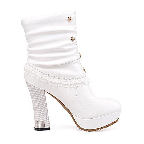 VogueZone009 Donna Luccichio Bassa Altezza Puro Tirare Tacco Alto Stivali Bianco