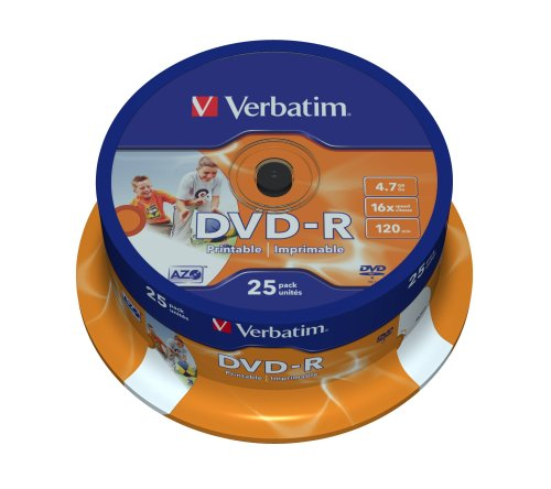 Verbatim DVD-R 16x Speed 4,7GB Wide Printable Surface 25er Spindel DVD-Rohlinge