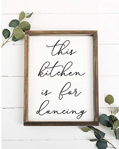 Laptopo This Kitchen is for Dancing - Handgefertigtes Holzschild, Heimdekoration, Küchendekoration, Küchenschild, Geschenk für Mutter, Tanz, Familie