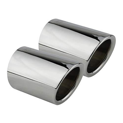 L&P A286 2 Auspuffblenden Auspuffblende Edelstahl spiegel poliert Chrom Plug&Play Endrohrblenden Endrohrblende Auspuff Blende Endrohre