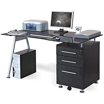 hjh office 673945 schreibtisch computertisch nero schwarz glas k che haushalt. Black Bedroom Furniture Sets. Home Design Ideas