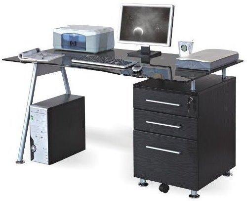 hjh OFFICE 673945 Schreibtisch / Computertisch Nero, schwarz / Glas