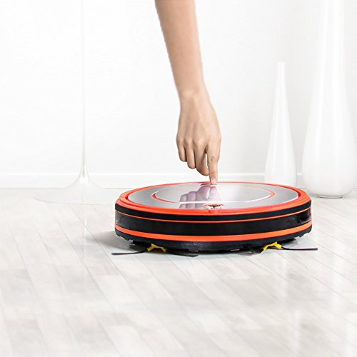 Fmart Aspirateur Robot Autonome YZ-Q2 Nettoyeur de plancher, Vadrouille sèche avec réservoir d'eau, Robotic nettoyer pour Animaux Allergènes Accueil, Horaires de rechargement automatique, Orange Argent (EU la norme), Cadeau de la fête des mères