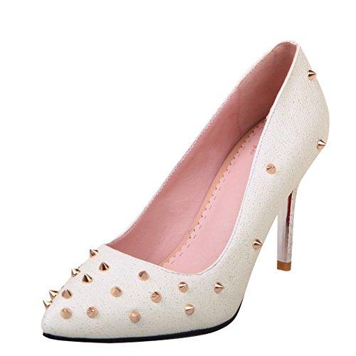 Mee Shoes Damen Stiletto Geschlossen mit Nieten Pumps Weiß