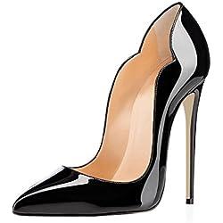 EDEFS Scarpe Col Tacco Donna Classico Ritaglio High Heels Chiuse Davanti Scarpa Nero Taglia EU37