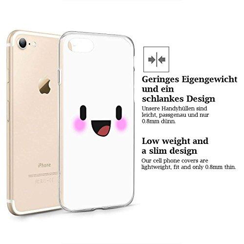 finoo | iPhone 8 Weiche flexible Silikon-Handy-Hülle | Transparente TPU Cover Schale mit Motiv | Tasche Case Etui mit Ultra Slim Rundum-schutz |Schmetterling bunt Happy face phone