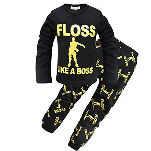 ALAMing - Pijama Dos Piezas - para niño Negro Negro (140 cm