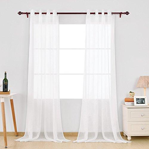 Deconovo tenda trasparente lino look tenda in voile con occhielli 1 pannello 140 x 240cm, bianco