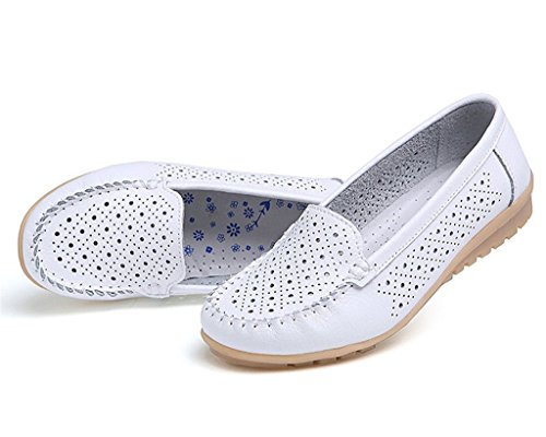 Minetom Donne Ragazze Moda Cavo Scarpe Mocassino Pantofole Estate Barca Scarpe Stile Casual Bianco