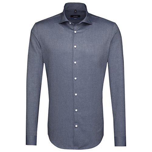 SEIDENSTICKER Herren Hemd Tailored 1/1-Arm Bügelleicht Uni / Uniähnlich City-Hemd Kent-Kragen Kombimanschette weitenverstellbar blau (0016)