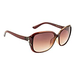 VOYAGE WOMENS OVERSIZED SUNGLASSS ( BROWN FRAME / BROWN LENS )(SIZE:LARGE)