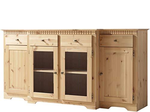 ELIZABETH Vitrinenschrank Sideboard Küche Esszimmerschrank Schrank Kiefer massivholz gebeitz geölt