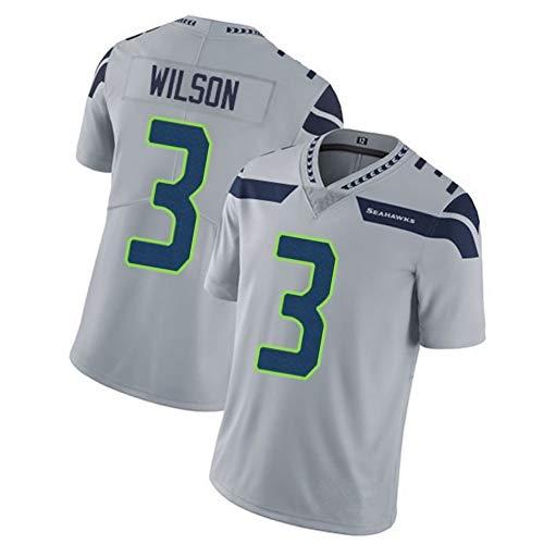 Männer Rugby Trikot Fußball Trikot Polo Shirt-3# Russell Wilson Seattle Seahawks Fullback Athlet Trikot Unisex Training Shirts Mesh Schnell trocknend Fans Sweatshirt-Grey-XL