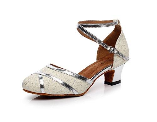 Jshoe scarpe da ballo da donna, con tacco alto, in pelle pu, con glitter, modello salsa tango ballsaal latein, argento-heeled6cm-uk6/eu39/our40