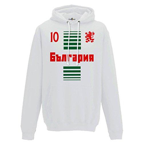 Felpa Cappuccio Uomo Nazionale Sportiva Balgarija Bulgaria 10 Calcio Sport Europa 1 BG KiarenzaFD Streetwear Arctic White