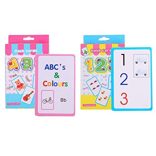 F Fityle Lernkarten Brief Lernen Alphabetisch Anzahl Zählen Für Kindergarten Kleinkinder Vorschule Kinder 2 Set Pack