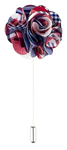 Product Proper Weiß Rot Blau Polyester Patterned Blume Handarbeit Anstecknadel Ansteckblume Zu Hochzeitsanzug