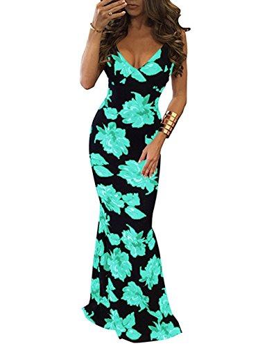Baymate Damen Elegant Blumen Ärmellos Bodycon Kleider Lang Abendkleider Partykleid Grün
