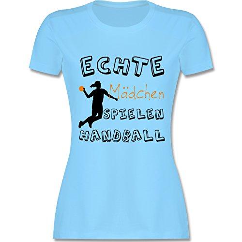 Handball - Echte Mädchen Spielen Handball schwarz - S - Hellblau - L191 - Damen T-Shirt Rundhals