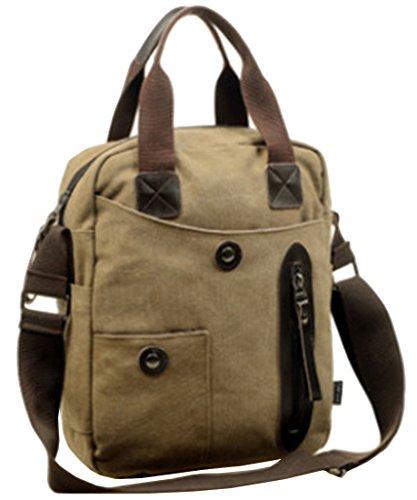 SK Studio Herren Handtasche Schultertasche Messenger Tasche Mit Zip-Taschen Funktionelle Bauchtasche Dual Schultertaschen Umhängetasche Pouch Crossbody Bag Khaki