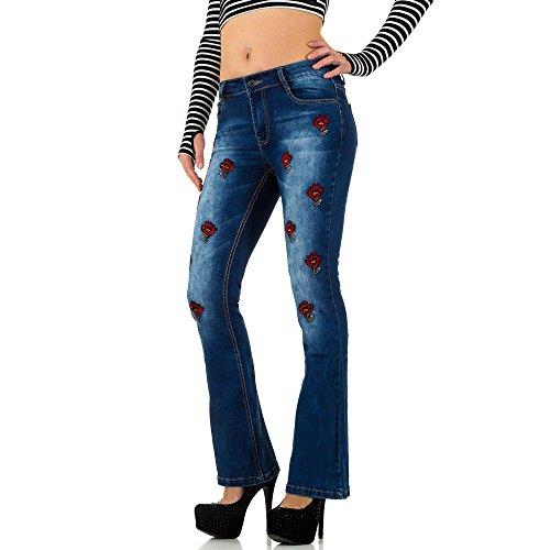 Ital-Design Bestickte Bootcut Jeans Für Damen, Blau In Gr. S/36 - Bootcut-jeans Bestickt