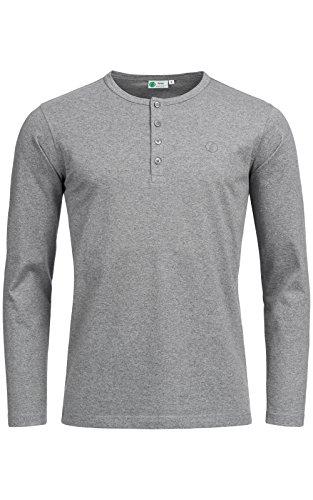 Banqert Herren Longsleeve CHAMAREL Falls - Männer Shirt-s Jungen Sweatshirt-s - 100Prozent Pro-Ability Baumwolle Langarmshirt-s Shirt Langarm- Grau Melange M