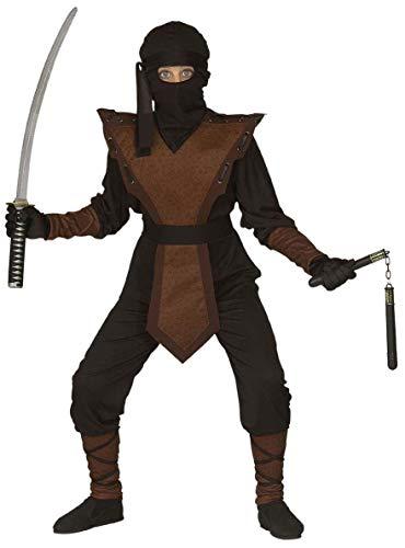 Nerd Clear Ninja Kostüm für Jungen & Mädchen | 4-teilig: Jumpsuite, Brustteil, Maske, Kopfband | Größe: 140cm | ideal für Karneval & Fasching