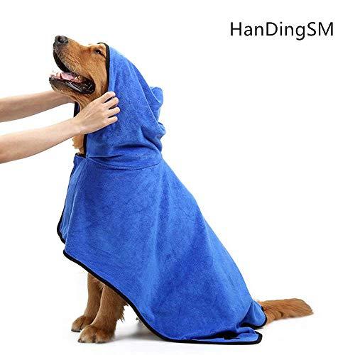 HanDingSM Haustier-Bademantel, Hunde-Bademantel, verstellbar, Mikrofaser, schnelltrocknend (XL)