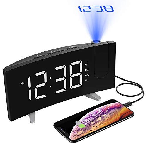 (Neuste Version) Projektionswecker,PICTEK Wecker,Radiowecker/Digital Wecker/Großes Display/Dimmer/Dual-Alarm/4 Alarmtöne, Snooze/Timer,12/24-Stunden,USB-Anschluss,120° Projektor,180°Flip-Anzeige