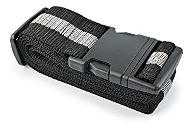 Luggage Strap – Suitcase Strap – Clip, Pack of 2 – Colours: Black/Grey – Black Stripes - low-cost UK light shop.