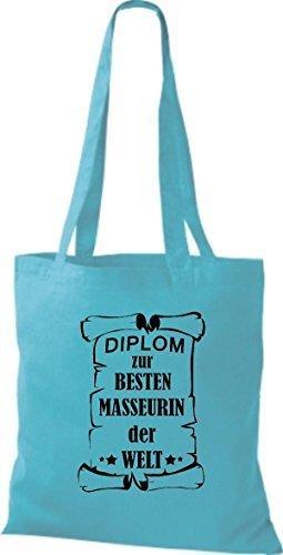 shirtstown Borsa di stoffa DIPLOM A MIGLIOR masseurin DEL MONDO Celeste