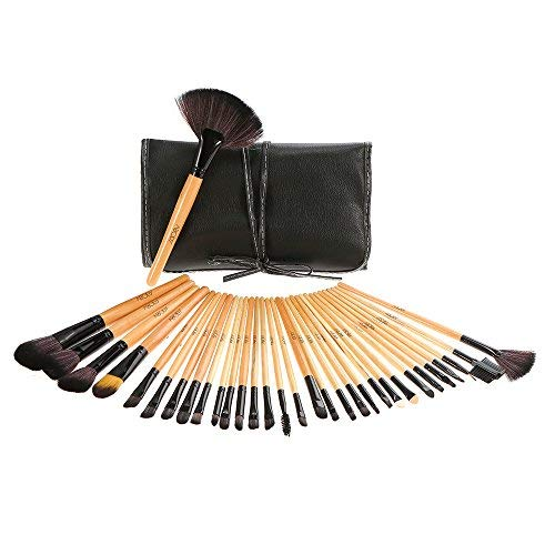 Abody 32Pcs Set Brochas de Maquillaje, 32 Piezas de Brochas Profesionales Para Maquillaje Kit Pala Pinceles Cosméticos Profesional Compone & Bolsa Funda