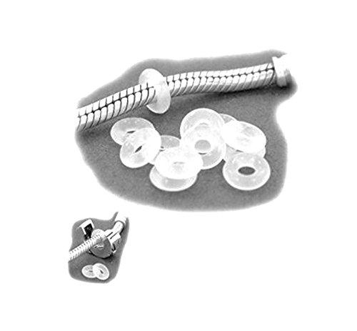 Silikon-Stopper 6mm, Schmuckzubehör für Kettchen und Pandora-Bänder usw, 25 Stück, Farbe Transparent, Sili 025 von ESM24 -